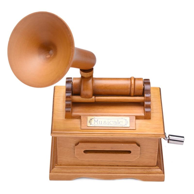 Retro Eight-tone Music Box Decoration DIY Hand-cranked Music Box Romantic Musical Instrument