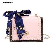 BESTFORM Transparent Jelly Bags For Women Mini Chain Luxury Ladies Shoulder Bag Leather Korean Scarves Hasp Female Messenger