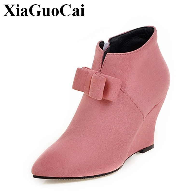Europe Style New Wedges Heel Pointed Toe Shoes Women Boots with Butterfly-knot Plus Size Flock Pink Fashion Women Shoes H397 35 new flock high big size 11 12 women shoes wedges pointed toe woman ladies butterfly knot casual spring autumn sweet single shoes