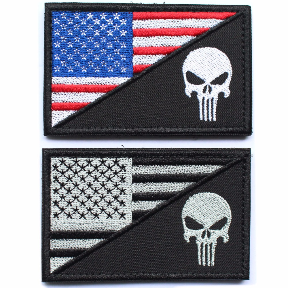 Punisher Skull Patches millitary patch American USA Thin blue line - Arts, Crafts and Sewing - Photo 3