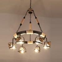 Американский Ретро 6/8 подвеска в форме головы лампы веревка креативный Бар Кафе Магазин одежды Лофт гамма освещение подвесной светильник