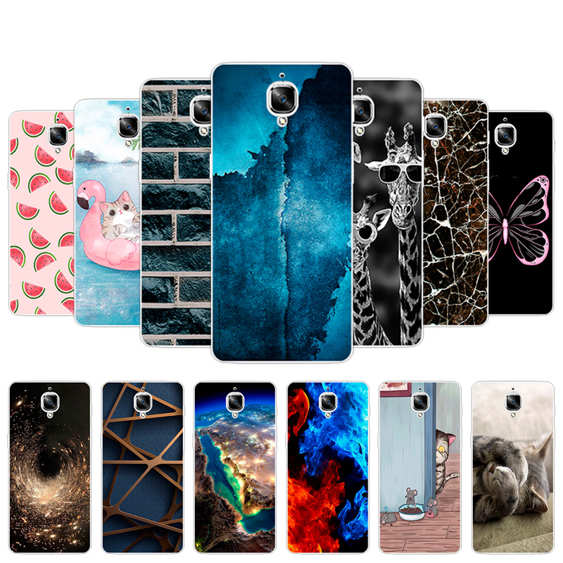 For One Plus 3 3T Three One plus3 oneplus3 1+3 3T Black Back Matte Flower Dog Cover TPU Silicone Case for One Plus 3 3T Fundas