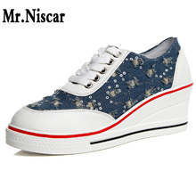 6cm Height Increase Wedges Ladies Canvas Shoes Low Top Woman Viscose Shoes Korean Casual Sneakers Denim