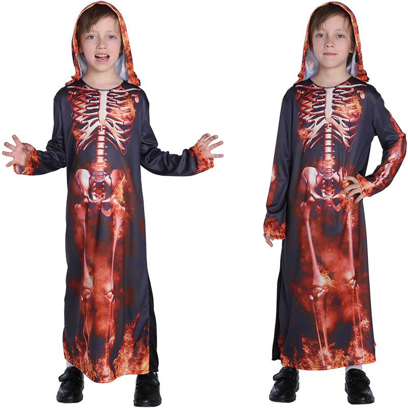 New Children Ghost Cosplay Clothes Kids Boys Flame Skeleton Costumes Robe for Halloween Christmas Carnival Masquerade COS Party