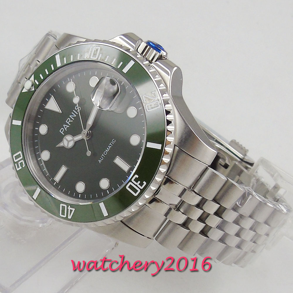 40mm PARNIS Green Dial Sapphire Glass Rotating Ceramic Bezel Date Luminous Steel Case MIYOTA 8215 Automatic Movement men's Watch 40mm parnis black dial rotating ceramic bezel sapphire glass top brand mechancial miyota 8215 automatic movement men s watch