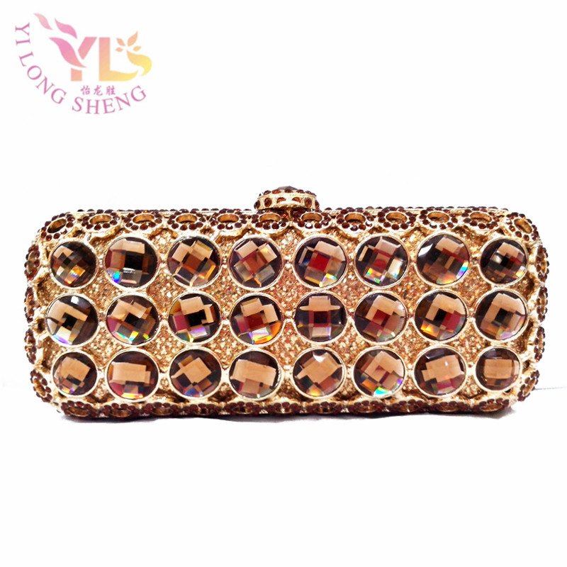 Champagne Vintage Women Purse with Chain Women Bag Wristlets Clutches Crystal Evening Clutch Bags YLS-G69 цена 2017