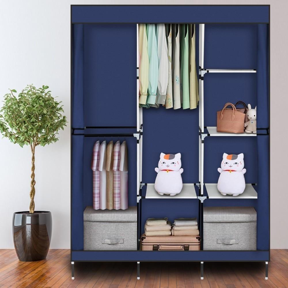 Large Capacity Non-woven Cloth Wardrobe Fabric Closet Portable Folding Dustproof Waterproof Clothing Storage Cabinet Furniture