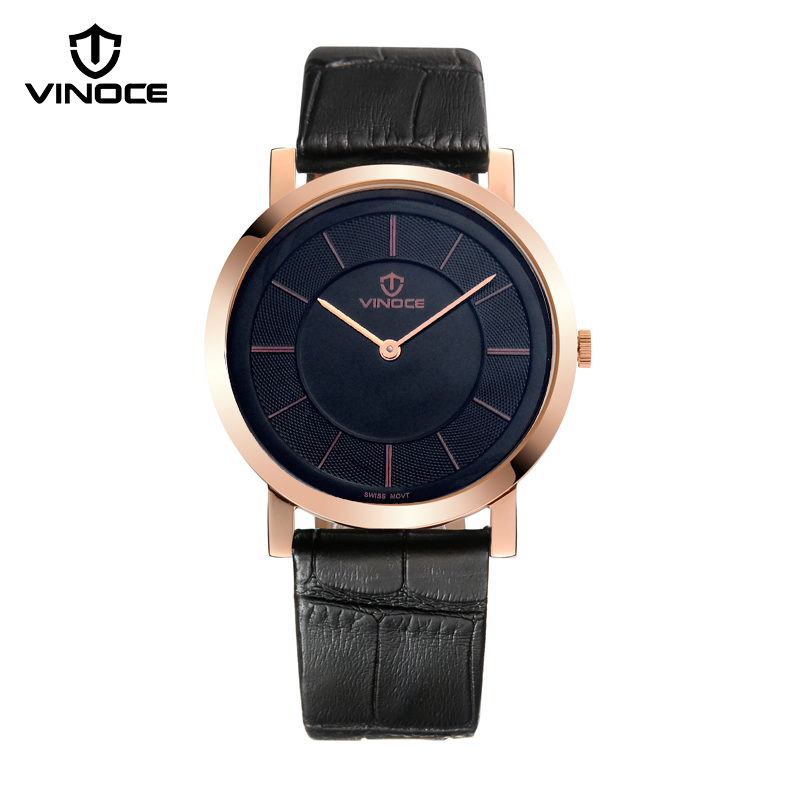 relogio masculino VINOCE Mens Watches Top Brand Luxury Fashion Business Quartz Watch Men Sport Leather Waterproof Wristwatch vinoce top luxury brand men military sport watches men s quartz clock male leather waterproof casual business wristwatch relogio
