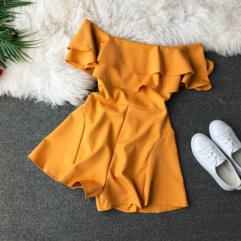 HTB1r6KucgmH3KVjSZKzq6z2OXXax - Candy Color Elegant Jumpsuit Women Summer Latest Style Double Ruffles Slash Neck Rompers Womens Jumpsuit Short Playsuit