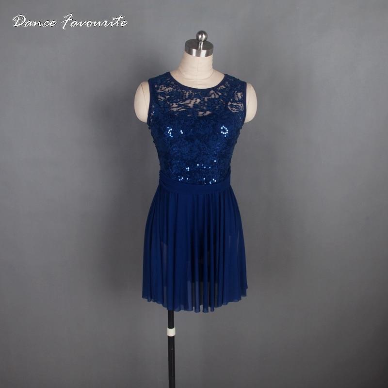 Dance Favourite Navy Blue Ballet Costume Woman Lyrical Dance Dress Adult Ballet Dress Dancewear