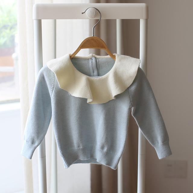 Niños Suéter de Las Muchachas Del estilo Coreano Collar de Hoja de Loto Dulces colores Lindo Niño Bebé Camisa de Imprimación Suéter Hecho Punto Bebé Niña Ropa
