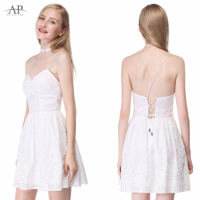 d49863b31f0 Alisa Pan Women's Summer Sexy Lace Holiday V-Neck Dress Spaghetti Straps  Short White Cotton Fashion Casual Dresses AS05627CR