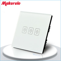 Touch Switch White Crystal Glass Panel UK Standard 3 Gang 2 Way Touch Screen Wall Switch