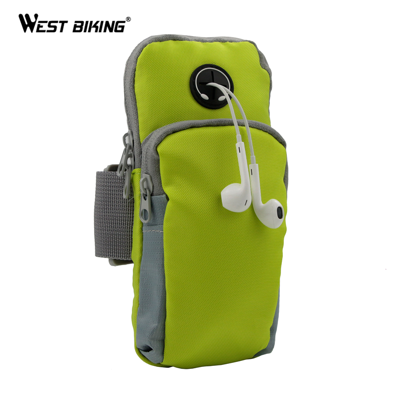 цена на WEST BIKING Runing Arm Bag Phone Holder Jogging GYM Adjustable Waterproof ArmBand Cover Deporte Sport Riding Bike Cycling Bags
