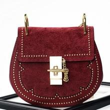 Autumn Winter High Quality Genuine Leather Rivets Gold Chain Bag Round Handbag Shoulder Messenger Small Bag Vintage Style Purse
