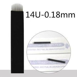 Image 2 - 500 sztuk 0.18mm Flex Nano Laminas Microblading Tebori Agulha 12/14/18 U kształt igły do tatuażu brwi Microblading ostrza czarny