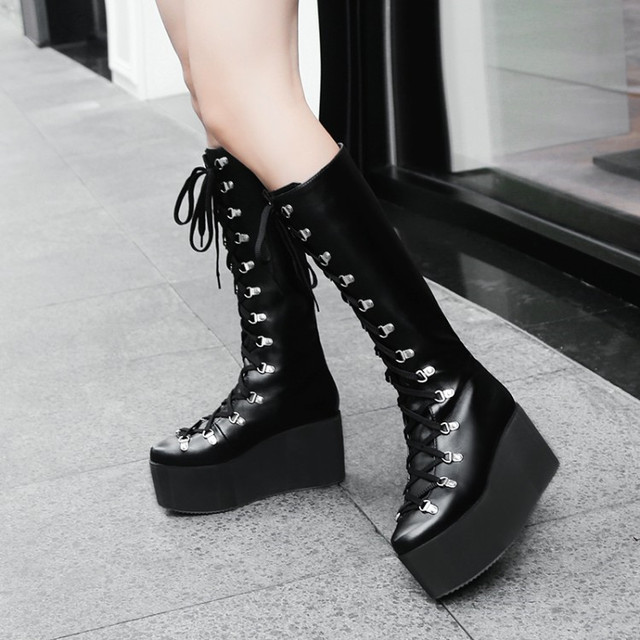 34b85d7c118e6 PXELENA Punk Rock Gothic Creepers Knee High Boots Women Lace Up Thick Platform  Wedge High Heels Motorcycle Biker Boots Female