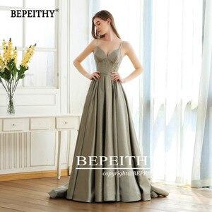 Image 3 - BEPEITHY linia Vintage długi blask suknia wieczorowa Party elegancki V neck szata De Soiree brokat nowe suknie balowe długie 2020