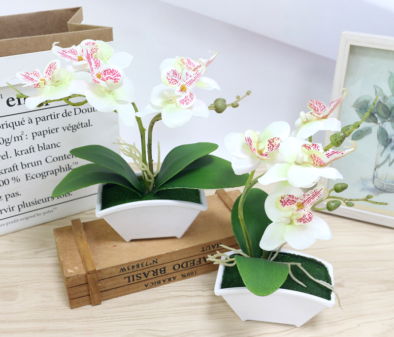 small artificial butterfly orchid flower set with real touch leaves artificial plants overall floral for wedding (4)
