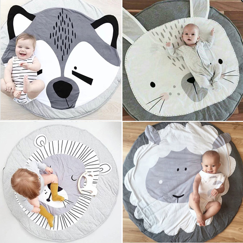 Baby Gyms & Playmats Mother & Kids 3 Designs Letter Bear Face Rabbit Round Thick Non-slip Carpet Mat Childrens Play Mat Tent Bed Mat Latest Technology