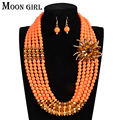6 color Nigerian wedding african beads jewelry set Crystal and acrylic beads flower statement choker necklace sets for women