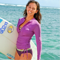 Quick Dry Sun Protection Long sleeved Surf Rash Guard Tops Women's Wetsuit Surfing Swimwear Shirt Water Sports Clothing