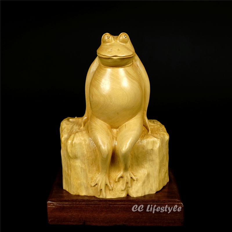 CC lifestyle Exquisite animal carving statue feng shui frog wood craft lucky    home decoration  moneyCC lifestyle Exquisite animal carving statue feng shui frog wood craft lucky    home decoration  money