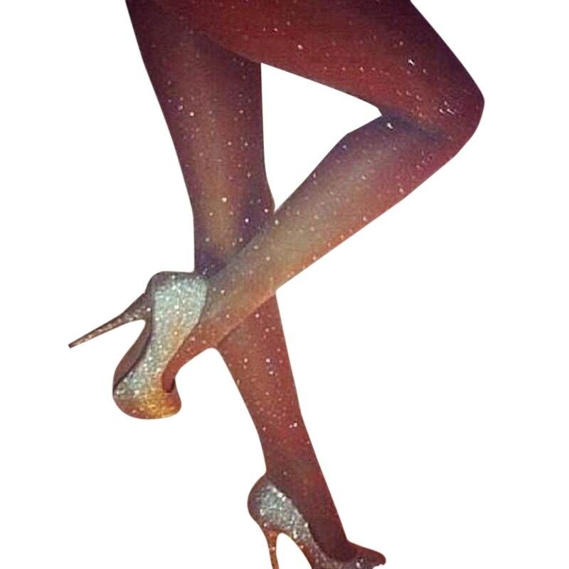 2018 New Mujeres Sexy Ladies Basic Stretch Mujer Sexy Thin Bling Rhinestone Mesh Pantyhose Summer Women Onesize