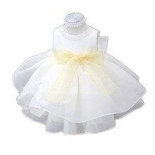 BBWOWLIN Baby Girl Dress Vestido Infantil for Formal Birthday Party Wedding Christening White Princess Dress Baby