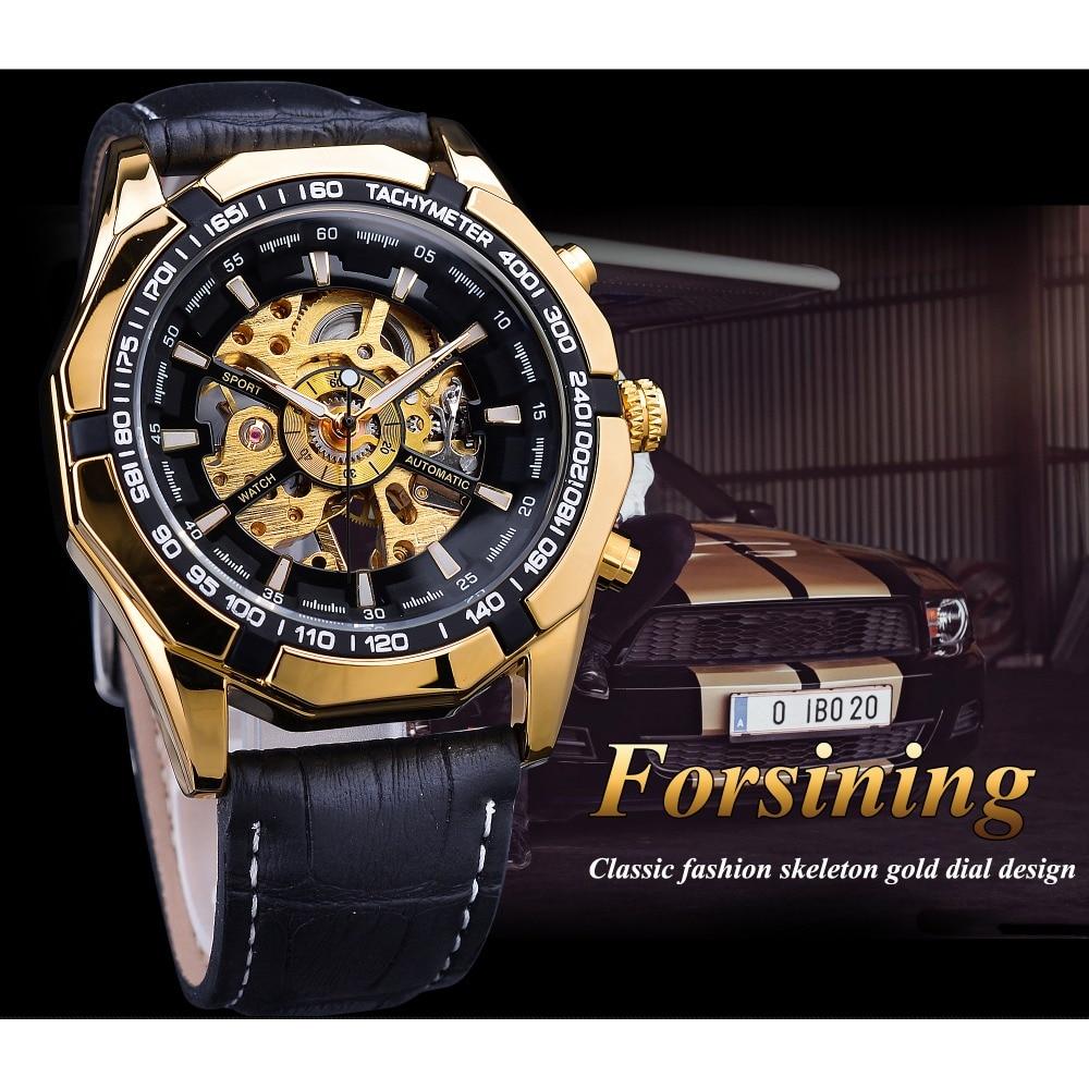 Forsining Waterproof Golden Black Skeleton Clock Two Button Decoration Mechanical Wrist Watches for Men Black Genuine Leather 3