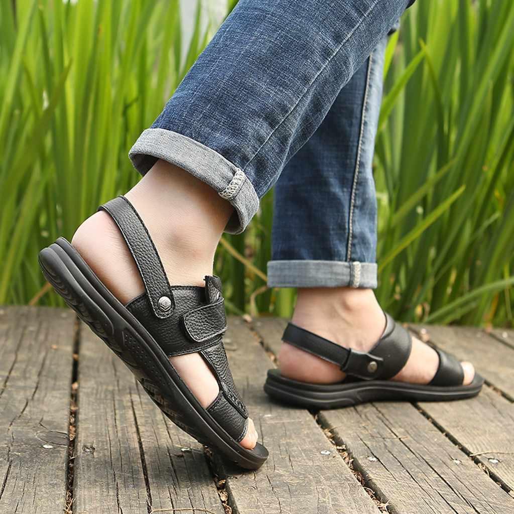 Zomer PU Lederen Schoenen Mannen Sandalen Voor Mannelijke Strand Classic Rijpe Wandelen Strand Sandalias Sandaal Slippers Schoenen