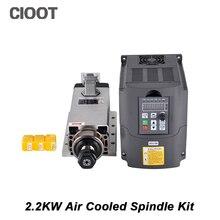 CNC Spindle 2.2KW Router Spindle Air-cooled Square Spindle Motor + 220V Inverter + 3pcs ER20 Collet For Milling Machine Tools