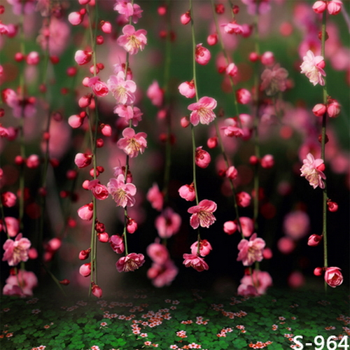 8x8FT Pink Floral Flower Branch Spring Green Float Bokeh
