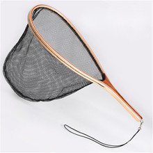 230g  Portable Fly Fishing Landing Net Nylon Net Wooden Handle Catch Release Lightweight Fishing Accessory strong solid ring landing net of head nylon net fishing net fishing network turck net dipneting fishing tool outdoor pesca
