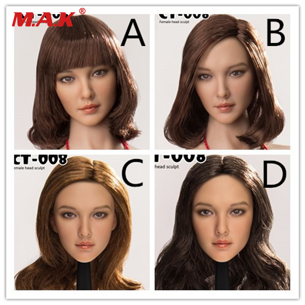 CT008 A B C D Styles 1 6 Asia Beautiful Head Sculpt Carved Curls Hair for