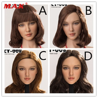 CT008 A/B/C/D Styles 1:6 Asia Beautiful Head Sculpt Carved Curls Hair for 12'' Phicen Suntan Action Figure Body Accessory