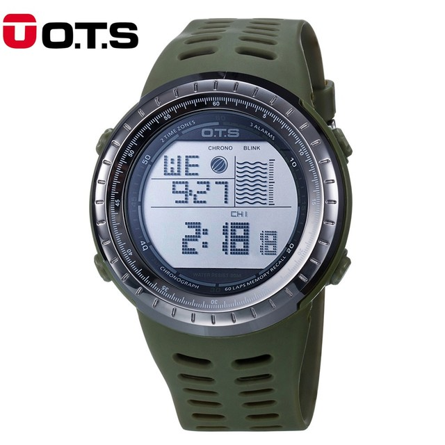 2017 New OTS Brand Watch Men Military Sports Watches Fashion Silicone Waterproof LED Digital Watch For Men Clock digital-watch