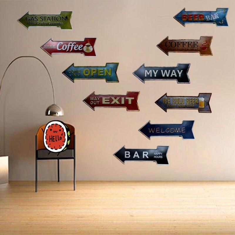 Arrow Tin Signs Bar Pub Garage Wall Plaque Metal Signs Vintage Home Decor A