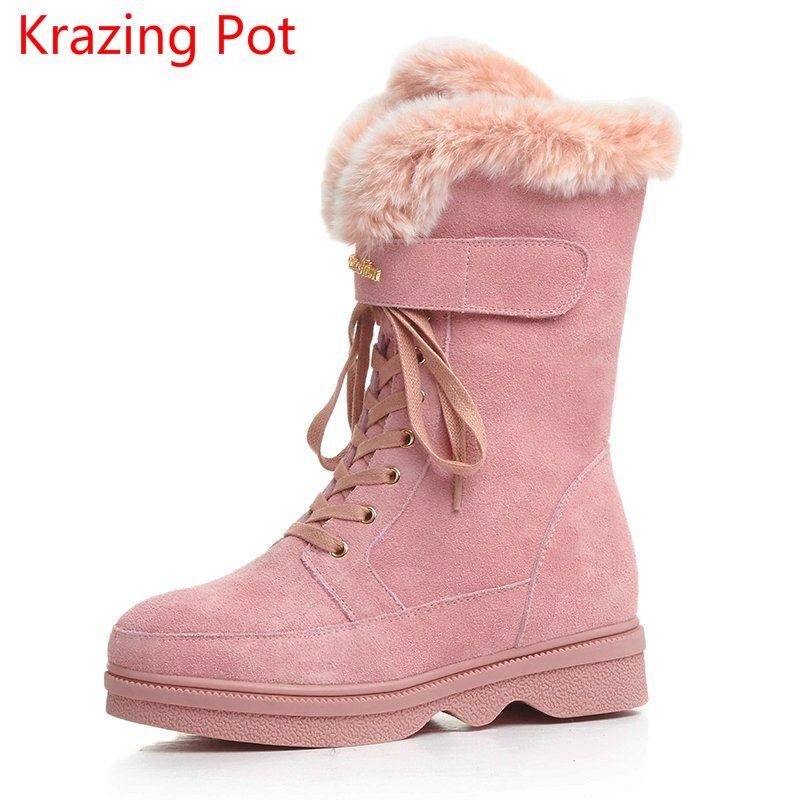 2018 Brand Winter Shoes Cow Suede Rabbit Fur Lace Up Wedges Keep Warm Snow Boots Metal Increased Pink Western Mid-Calf Boots L31 hot genuine leather women artificial rabbit fur snow boots high platform ladies wedges heels mid calf boots suede rivets shoes