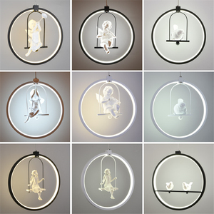 Image 2 - Nordic Aluminum Ring Girl Swing Pendant Light for Living Room Bedroom Study lovely Bird hanging lamp art deco kids Light Fixture