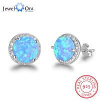 10mm Blue Opal Stone Guarantee 925 Sterling Silver Stud Earring Ocean Style Fashion Earrings Gift For