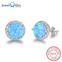 10mm Blau Opal Stein Garantieren 925 Sterling Silber Bolzenohrrings Ozean Stil Mode Ohrringe Geschenk Für Sie (Jewelora EA102018)