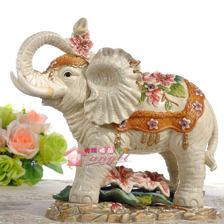 Us 197 24 Big Lily Lucky Ceramic Elephant Home Decor Crafts Room Decoration Handicraft Ornament Porcelain Figurines Wedding Decoration In Figurines