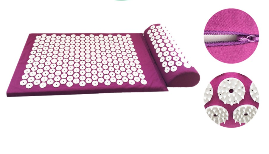 Massage acupuncture cushion mat With pillow for body massager pain relief ABS Acupressure spike yoga mat set цена