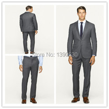 100% wool Hand made solid dark grey 2 pieces(jacket+pants) two buttons notch lapel custom made suits