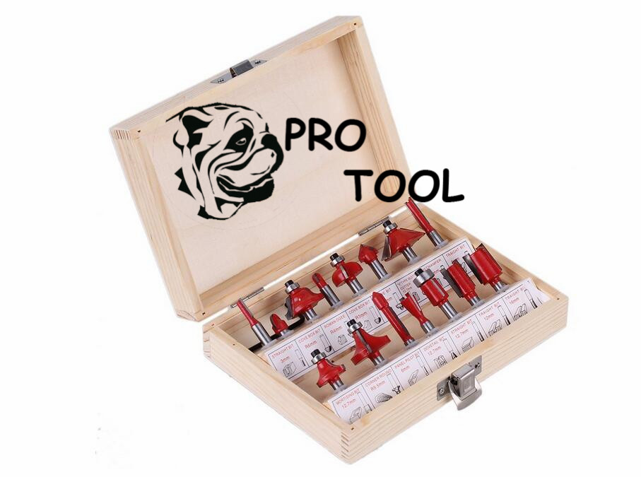 15pc Router Bit Set 1/4 6.35mm Shank Wood Carving Tungsten Carbide Tipped Woodworking Milling Cutter Trimming knife w/Wood case high quality wood milling cutter biscuit jointing router bit carbide tipped 1 2 shank woodworking router bits carbide end mill