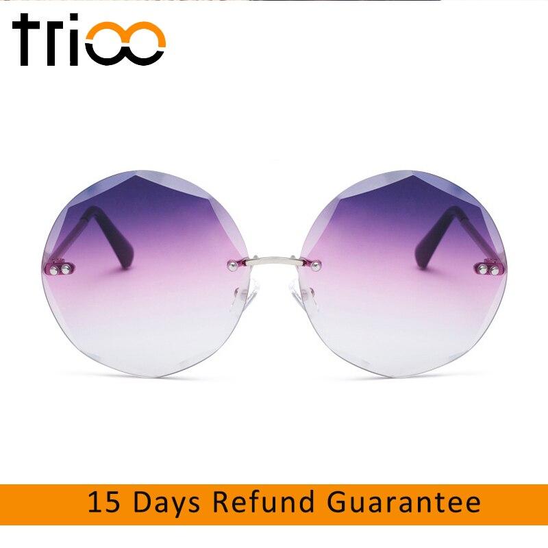 278974905a955 TRIOO Rodada Sem Aro Shades Óculos de Sol Para As Mulheres Designer de Moda Vintage  oculos de sol Feminino 2018 Marca Retro Óculos De Sol Das Mulheres
