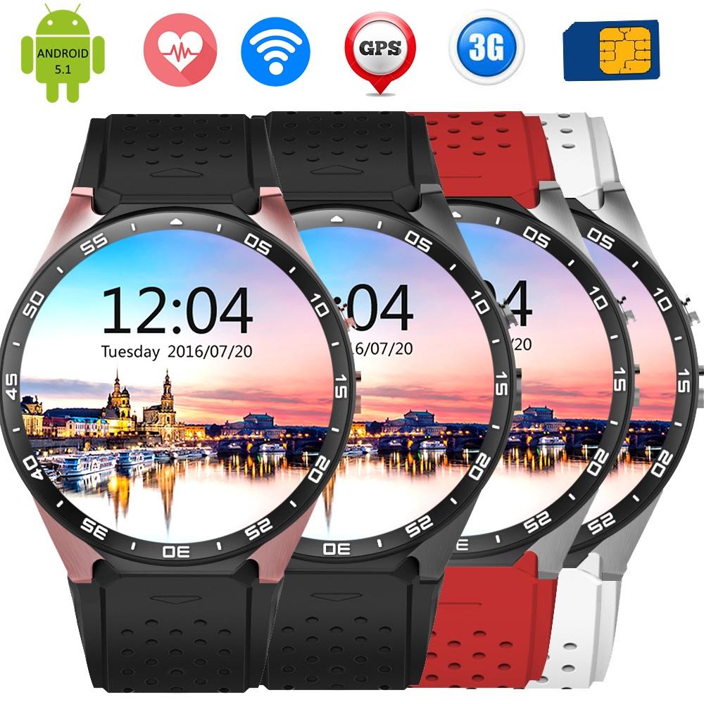 Prix pour Kingwear kw88 smart watch android 5.1 os 1.39 pouce amoled écran 3g wifi smartwatch téléphone mtk6580 gps gravité capteur podomètre
