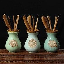 Kaffee Tee Werkzeuge, Bambus Sets für Teezeremonie Bambus Tee Werkzeuge Keramik Tee Zubehör, Bambus Liujunzi