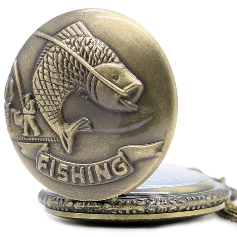 Topsælgende Fiskeri Design Antik Retro Vintage Lommeur Bronze Quarz - Lommeur - Foto 3